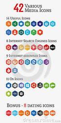 Various media polygon icons by zonnyjhon
