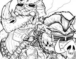 Rocksteady And Bebop TMNT Wave 4 (Ink) 12-25-15 by ManiacMcGee01