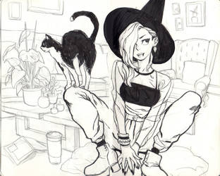 Witch in her living room by KarlaDiazC