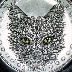 Morgan Dollar Cat 24ct Gold Eyes by shaun750