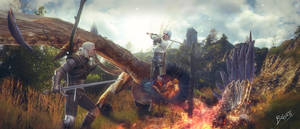 Ciri and Geralt hunting by brinx-II