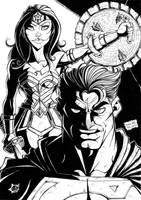 SUPERMAN and WONDER WOMAN ART PINUP DRAW by felipealvesart
