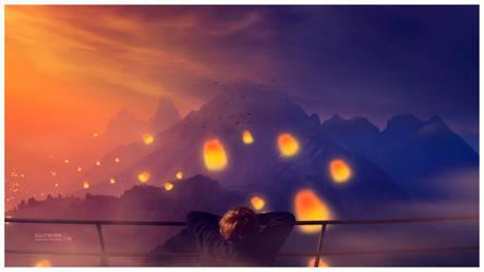 Sunset lanterns by Ellysiumn