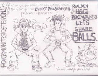 Pokemon Testosterone A and B. by bentoboxbobby