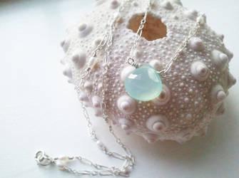 Pale Aqua Chalcedony Mermaid Necklace by QuintessentialArts