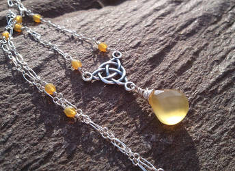 Honey Chalcedony Celtic Knot Necklace by QuintessentialArts