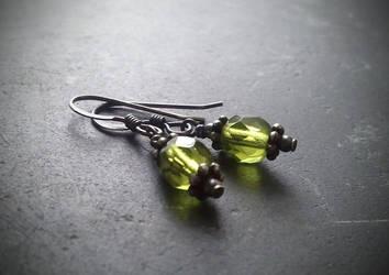 Petite Victorian Olivine Green Earrings- Black by QuintessentialArts