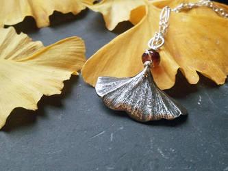 Silver Painted Ginkgo Leaf -Garnet- Pendant by QuintessentialArts