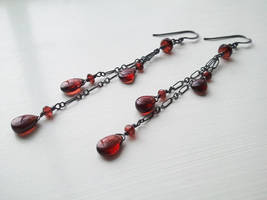 Blood Drop Garnet Earrings -Oxidized Silver- by QuintessentialArts