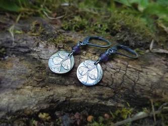 Maidenhair Fern - Fine Silver Earrings - Amethyst by QuintessentialArts