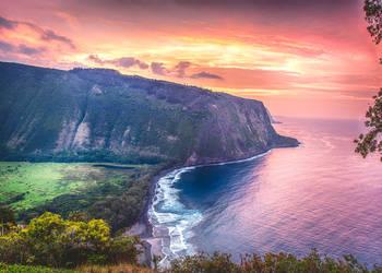 Waipi'o Valley Overlook at Dusk by dkwynia