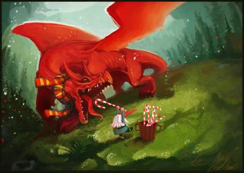 Feeding the Dragon Christmas Card by Art-Calavera