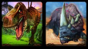 Devilsaur and Rhinoceros by Art-Calavera