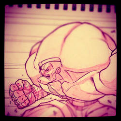 Street Fighter Sketch : Sagat by Zatransis