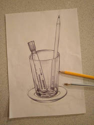 Glass cup and pens by taoufiq