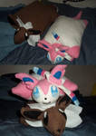 Sylveon and Eevee pillow by silver-kyoko