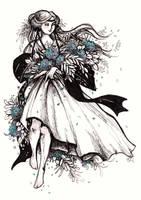 Hygrangea Girl - Inktober #16 by ShannonValentine