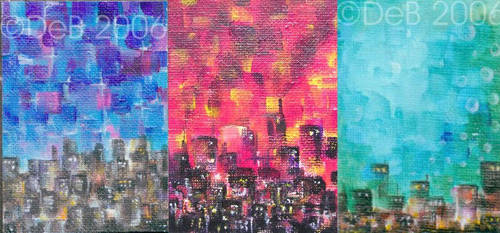 Three mini cityscapes by TheDevilsWallpaper