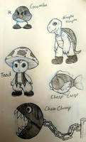 My version of Mario enemies (and Toad) by SoumaTheDoodler