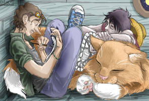 Usopp, Luffy and a large cat by Chelsee