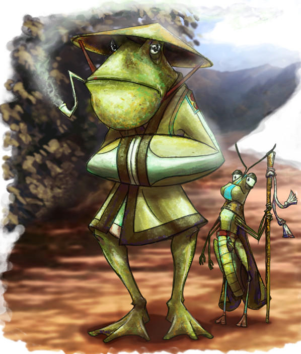Frog and Grasshopper by Knights-End
