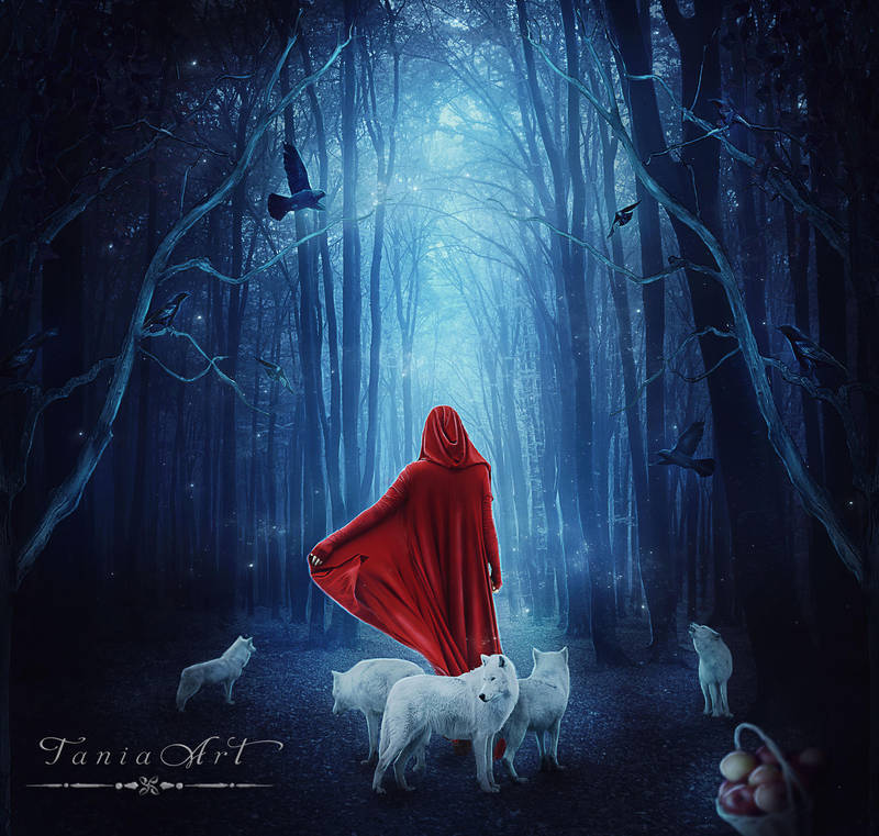 Red and her Wolves by TaniaART