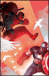 Deadpool vs. Cap by ChristianNauck