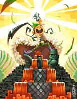 .:Mytho fanart - Quetzal Rock! :. by Marmottegarou