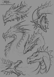 Dragon head sketches by amorphisss