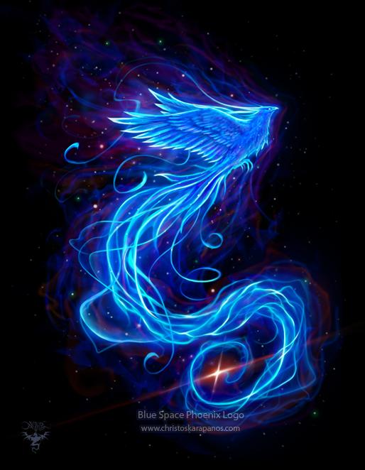 Blue Space Phoenix Logo by amorphisss