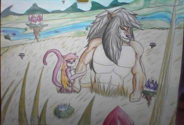 Lion and pinky Cat by principebaka