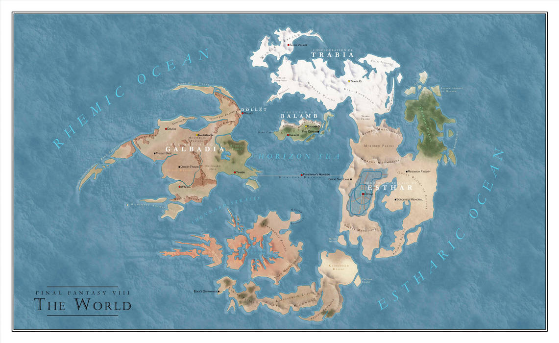 Final Fantasy Nes World Map.Final Fantasy Viii World Map By Salesworlds On Deviantart