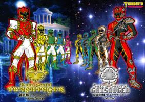 TENSHINGER sanctuary vs GAISOUGER cosmic wallpaper by thunderyo