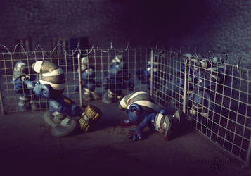 Scandal Smurf prison photos. Smurf cage fight (3) by steamflunky