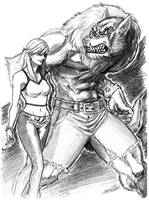 Girl and werewolf by trantsiss
