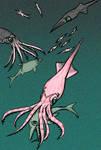 Megateuthis gigantea (Belemnites vs Ichthyosaurs) by Enneigard