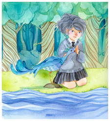 The Girl and the Peacock by Balckis