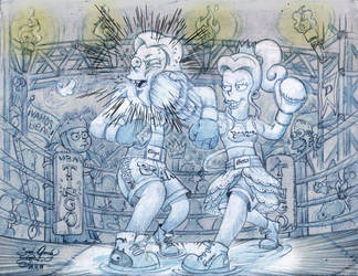 Dagmar vs Bean Boxing by tingocomics