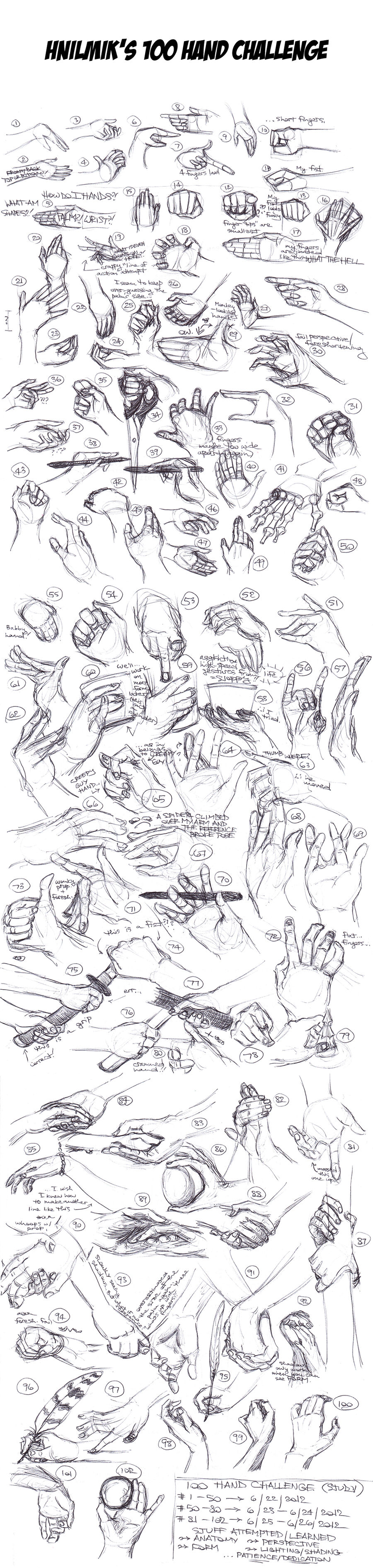 100 Hand Challenge (Hand Studies) by Hnilmik