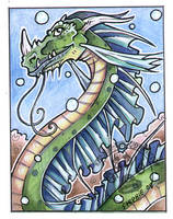 Water Dragon ACEO by lady-cybercat