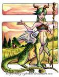 Dragontaur Female Watercolor by lady-cybercat