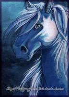 Blue Pony Acrylic by lady-cybercat