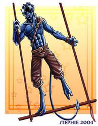 Kurt on the trapize by lady-cybercat