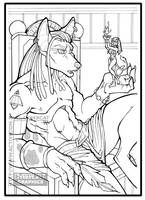 Anubis with Sekhmet by lady-cybercat