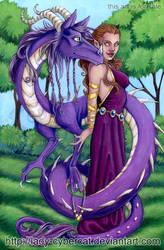 Mystic Purple Dragon and Lady by lady-cybercat