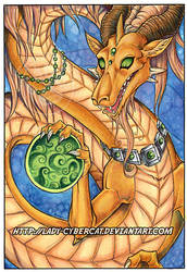 Gold Oriental Dragon Painting 11 x 17  Auction by lady-cybercat