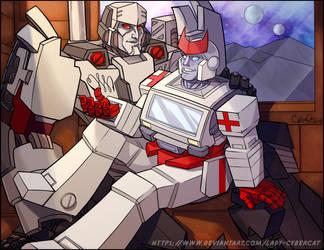 Ratchet and Megatron by lady-cybercat