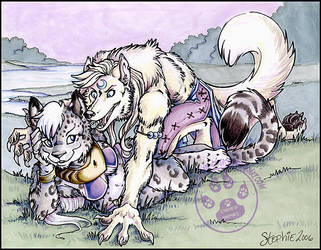 Snow Leopardess and Wolf by lady-cybercat