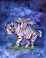 Winged White Tiger Cub by lady-cybercat