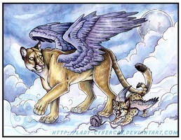 Winged Puma and cub by lady-cybercat